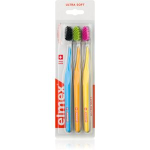 Elmex Swiss Made zubní kartáčky ultra soft Blue + Orange + Yellow 3 ks