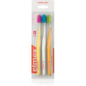 Elmex Swiss Made zubní kartáčky 3 ks ultra soft Yellow + White + Orange