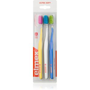 Elmex Swiss Made zubní kartáčky ultra soft Yellow + White + Blue 3 ks