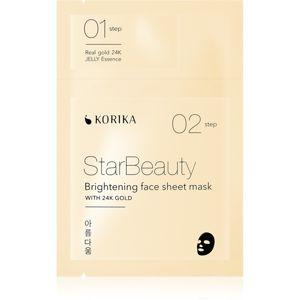 KORIKA StarBeauty rozjasňující plátýnková maska s 24karátovým zlatem 3 g + 25 g