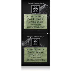 Apivita Express Beauty Green Clay hloubkově čisticí pleťová maska pro rozjasnění pleti 2x8 ml