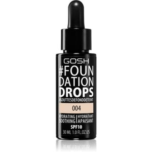 Gosh Foundation Drops lehký make-up ve formě kapek SPF 10 odstín 004 Natural 30 ml
