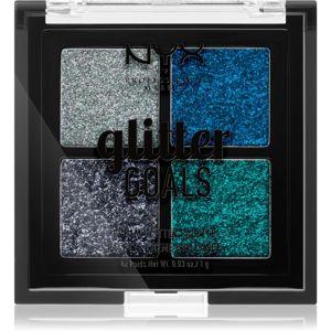NYX Professional Makeup Glitter Goals paletka lisovaných třpytek malé balení odstín 01 Glacier 4 x 1 g