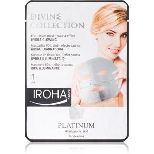 Iroha Divine Collection Platinum & Hyaluronic Acid hydratační a rozjasňující maska 25 ml
