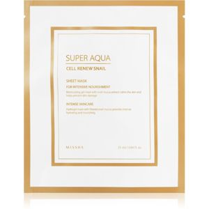 Missha Super Aqua Cell Renew Snail plátýnková maska s hydratačním a zklidňujícím účinkem s hlemýždím extraktem 25 ml